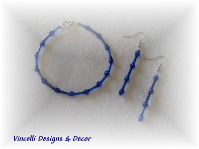 Blue Bracelet and Earrings-jewelry, blue, earrings, bracelet,