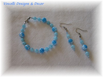 Light Blue Bracelet and Earrings