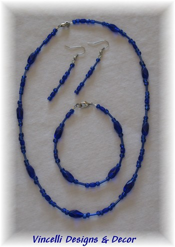 Dark Blue Necklace, Bracelet and Earrings