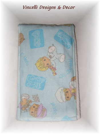 Burp Cloth - Blue Precious Moments-baby, burp cloth, gift, baby shower, blue, precious moments