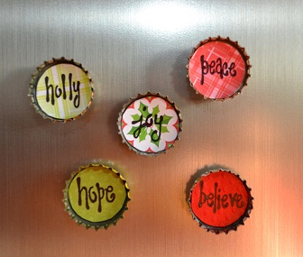 Bottle Cap Magnets - Christmas 2 - Set of 5-christmas, magnets, bottle caps, holly, joy, peace, hope, believe,