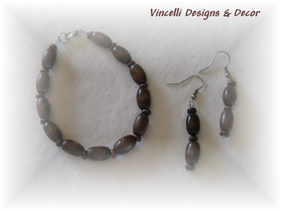 Brown Bracelet and Earrings-bracelet, earrings, jewelry, brown