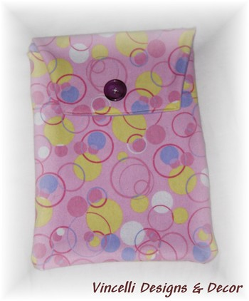 Diaper & Wipe Cloth Travel Pouch - Pink Circles