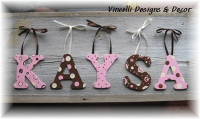 Wooden Letter Custom Wall Hangings - Pink & Brown-child, baby, letter, wood, wooden, handpainted, gift, alphabet, name, wall hanging, brown, pink, girl,