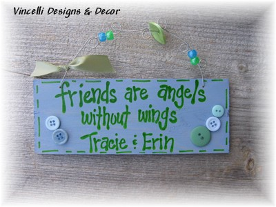 Handpainted Wood Plaque - Angels Without Wings (Blue)-handpainted, wood, plaque, angels, friends, friends are angels without wings,