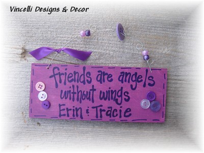 Handpainted Wood Plaque - Angels Without Wings (Purple)-handpainted, wood, plaque, sign, friends, angel, friends are angels without wings,