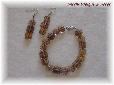 Pink & Brown Bracelet and Earrings