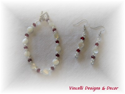 Red and Cream Bracelet and Earrings
