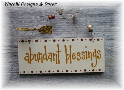 Handpainted Wood Plaque - Abundant Blessings-handpainted, wood, sign, plaque, abundant blessings, blessings, fall, autumn, thanksgiving