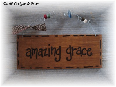 Handpainted Wood Plaque - Amazing Grace-grace, wood, sign, plaque, gift, handpainted,
