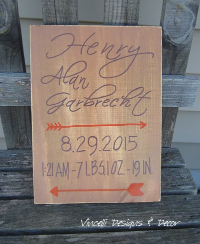 Wood Plaque - Baby Birth Stats - Arrow Rustic