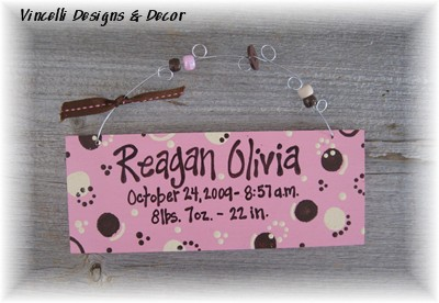 Baby Birth Info Plaque - Pink w/ Circles-baby, purple, girl, birth, baby shower, gift