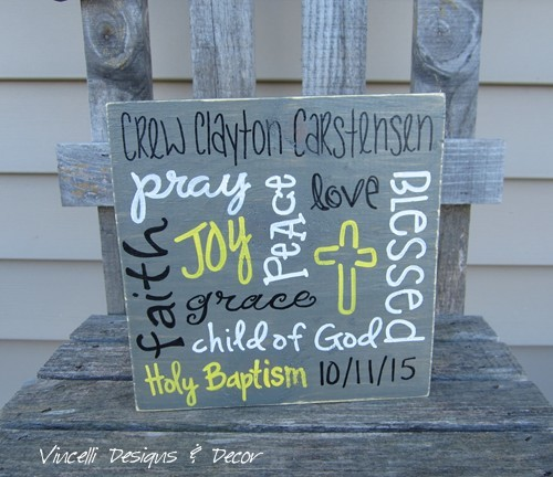 Wood Plaque - Word Collage Baptism