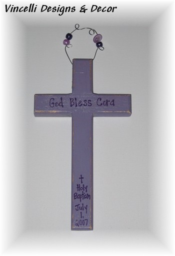 Baptism Cross - Lilac-baby, baptism, gift, girl,