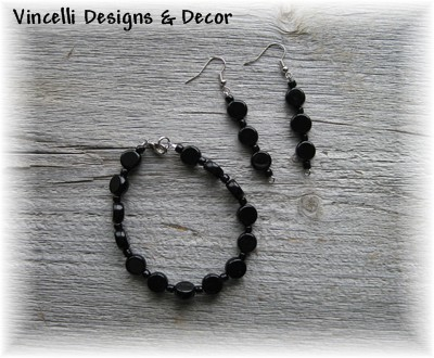 Black Bracelet and Earrings-black, jewelry, bracelet, earrings