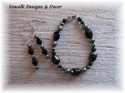Black and Silver Bracelet & Earrings-jewelry, earrings, bracelet, black, silver,