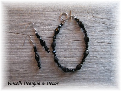 Black Curved Stone Bracelet & Earrings-bracelet, earrings, jewelry, black,