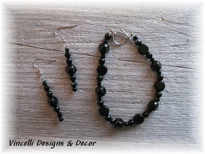 Black Circular Bracelet & Earrings-jewelry, black, earrings, bracelet,