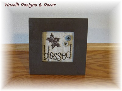 Embroidered Art in Frame - Blessed-blessed, gift, wooden, frame, embroidered,