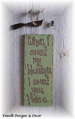 Handpainted Wood Plaque - Blessings Twice