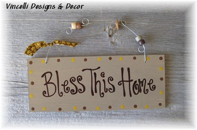 Handpainted Wood Plaque - Bless This Home-handpainted, wood, plaque, sign, bless this house, housewarming, home, bless this home,