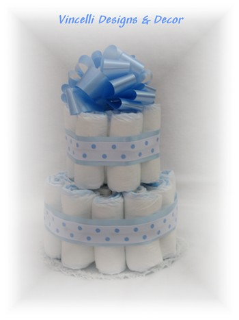 Diaper Cake - 2 Tier - Blue