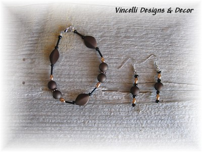 Black/Brown/Gold Bracelet & Earrings-jewelry, bracelet, earring,