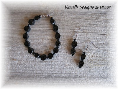 Black Curved Bracelet & Earrings-jewelry, earrings, bracelet, black,