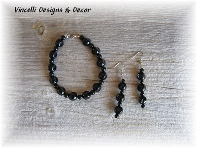Black Circular Bracelet & Earrings-jewelry, bracelet, black, earrings,