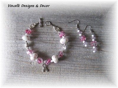 Breast Cancer Ribbon Bracelet & Earrings-breast cancer, bracelet, earrings, pink,