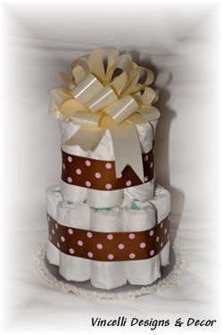 Diaper Cake - 2 Tier - Brown w/ Pink Dots