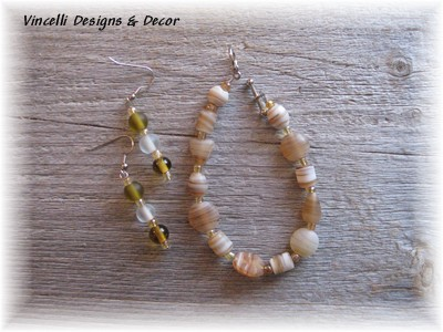 Brown/White Bracelet & Earrings-jewelry, brown, white, bracelet, earrings