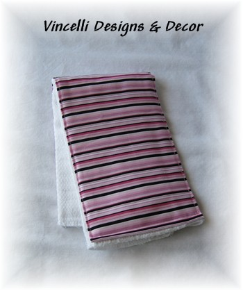 Burp Cloth - Pink/Black Stripes
