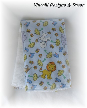 Burp Cloth - Blue Precious Moments Animal-burp cloth, baby, baby shower, gift,