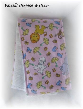 Burp Cloth - Pink Precious Moments Animal-burp cloth, baby, baby shower, gift,