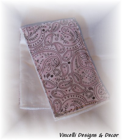 Burp Cloth - Pink Paisley