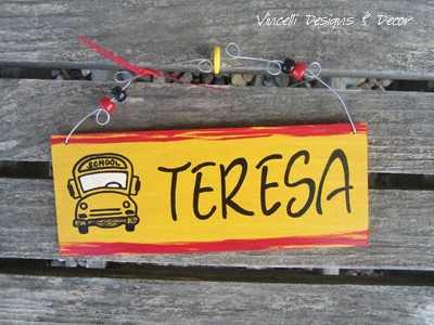 Handpainted Wood Plaque - School Bus Driver 1