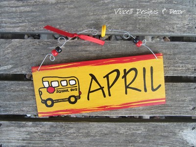 Handpainted Wood Plaque - School Bus Driver 2