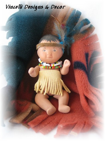 """Bye-Lo"" Native American Baby & Blanket Fleece-indian, native american, baby, gift, handpainted,"
