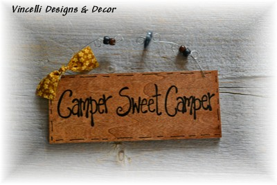 Handpainted Wood Plaque - Camper Sweet Camper