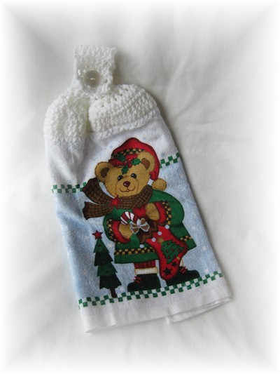 Crocheted Hand Towel - Christmas Bear-bear, christmas, hand towel, kitchen,