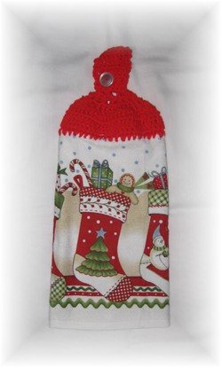 Crocheted Hand Towel - Stocking-stocking, christmas, crochet, hand towel, towel,
