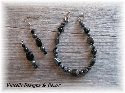 Chrome Bracelet & Earrings