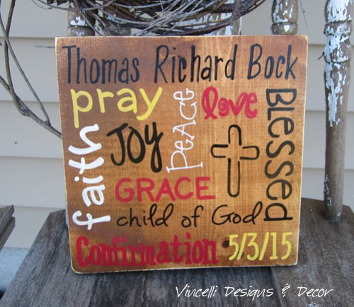 Wood Plaque - Word Collage Confirmation