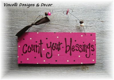 Handpainted Wood Plaque - Count Your Blessings (Magenta)