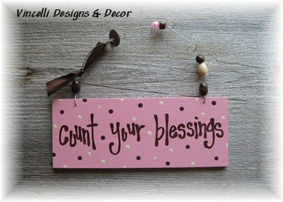 Handpainted Wood Plaque - Count Your Blessings (Pink)