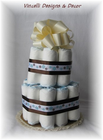 Diaper Cake - 2 Tier - Brown/Cream