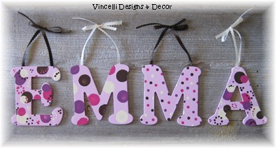 Wooden Letter Custom Wall Hangings - Pink-child, baby, letter, wood, wooden, handpainted, gift, alphabet, name, wall hanging, brown, pink, girl,