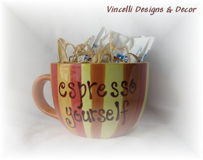 &quot;Espresso Yourself&quot;  Mug with Hot Chocolate-coffee, chocolate, gift, mug,