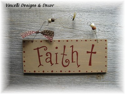 Handpainted Wood Plaque - Faith